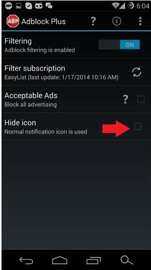 Adblock Hide Icon