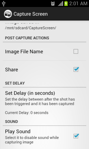 Capture Screen Options