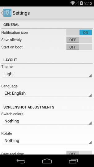 Screenshot Easy Settings