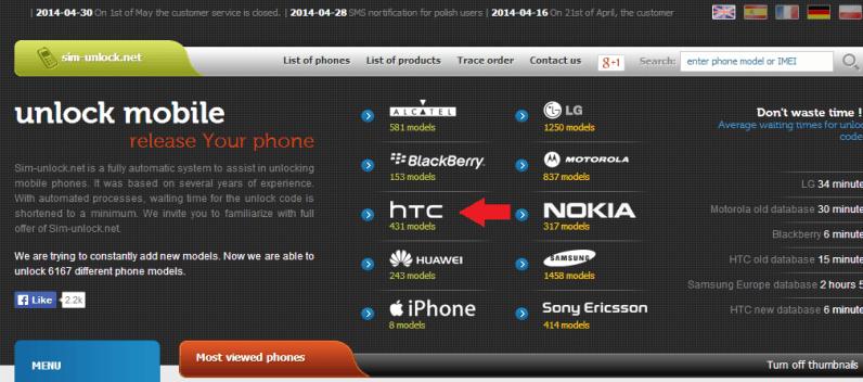 Sim Unlock HTC