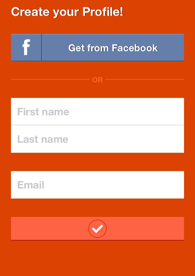 create profile or use facebook