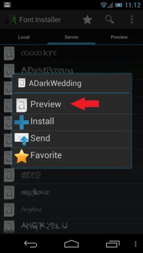 font installer preview