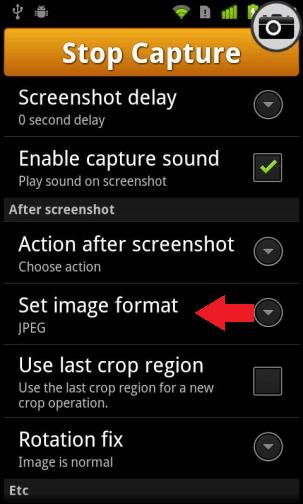screenshot format