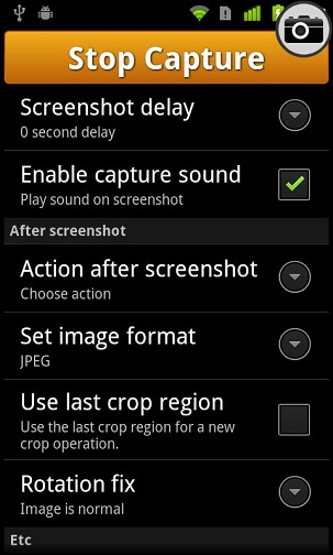 Screenshot UX Settings