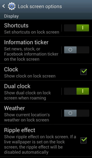 lockscreen shortcuts