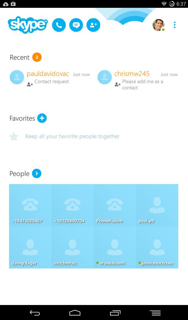 skype mainscreen