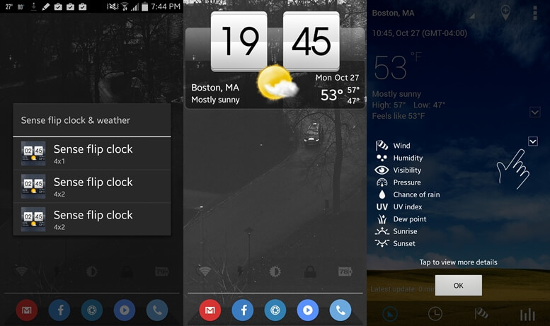 Transparent clock & weather widgets for Android