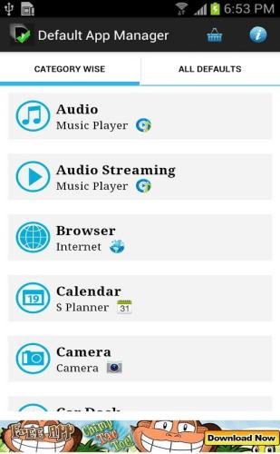 default app manager categories