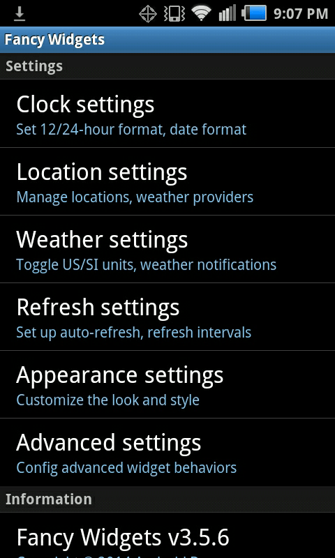 fancy  widgets settings