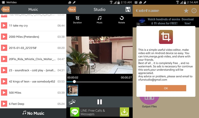Free Video Editor apps for android