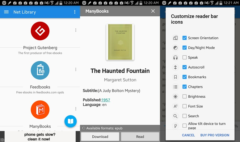 Free books app for Android