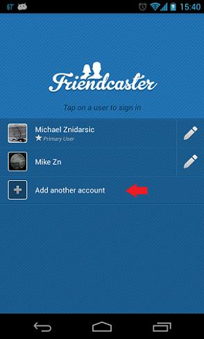 FriendCaster añadir cuenta