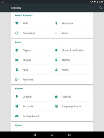 nexus 9 settings