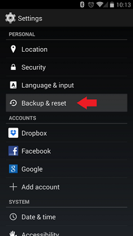 Nexus 5 backup reset