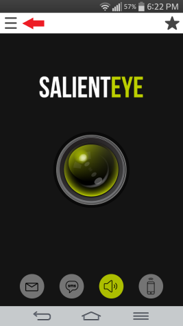 SalientEye Home Security menu