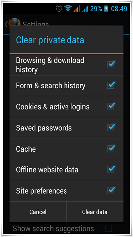 android clear internet history