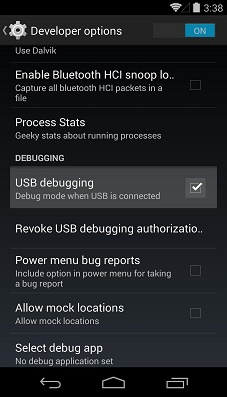 nexus 5 usb debugging