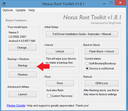 nexus root toolkit backup