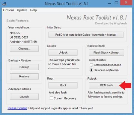 nexus root toolkit lock