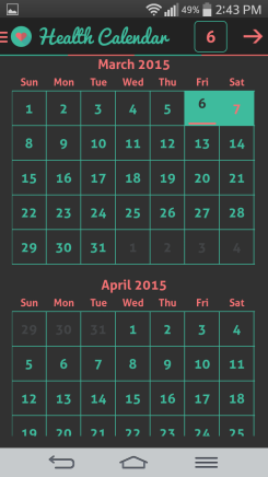 HI health tracker calendar