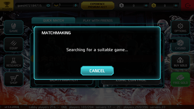 Not connected to matchmaking server shadowgun