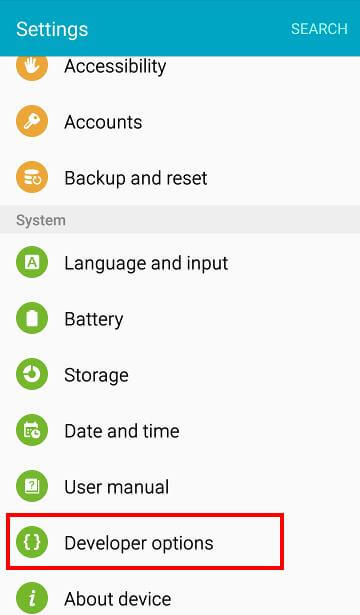 Samsung Galaxy S6 Developer Option