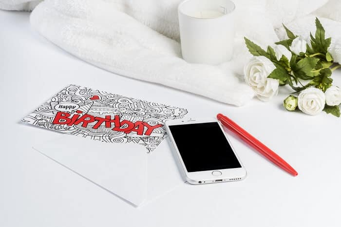 Birthday Card White Red IPhone Rose