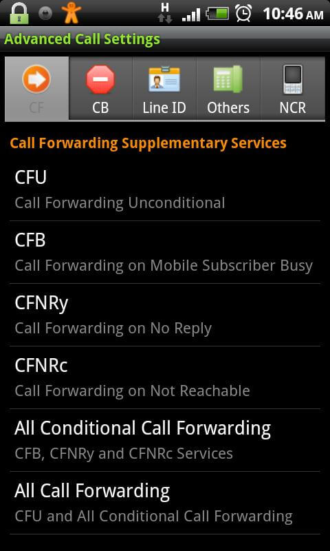 Advanced Call Settings App interface.