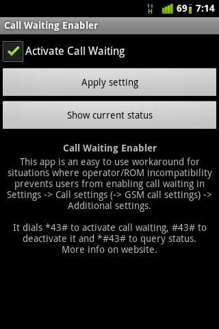 Enable Call Waiting's interface.