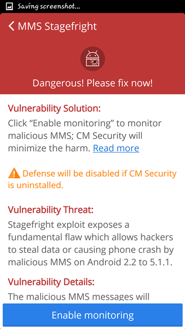 CM Security Antivirus and AppLock - mms stagefright fix