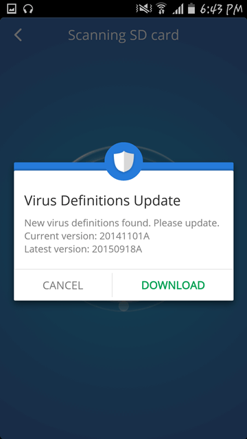 Exploring CM Security Antivirus and AppLock - virus definitions update
