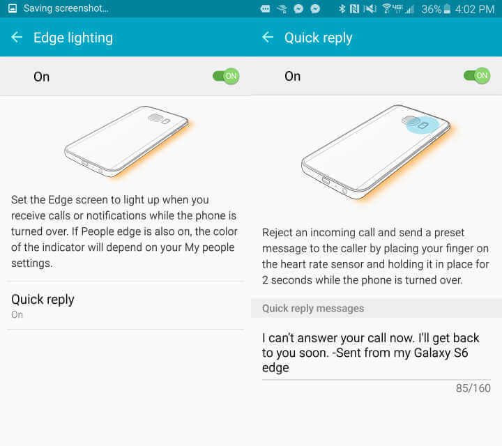 S6 Edge - quick reply