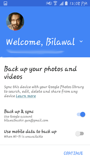 Google Photos initial setup options