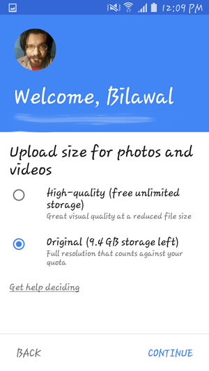Google Photos picture size settings