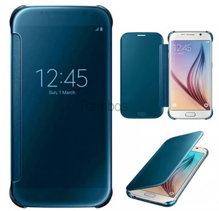 Samsung S6 Cases - Hot-Mirror-Clear-View-Electroplate-PC-Flip