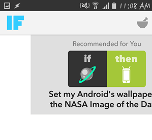 IFTTT main interface