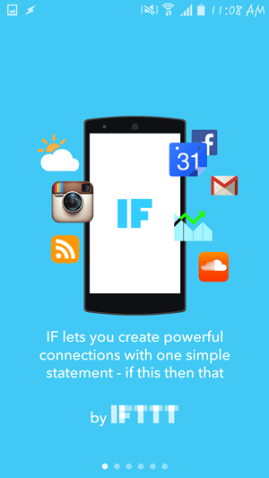 IFTTT welcome screen