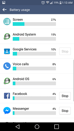 Lollipop Issues screen usage