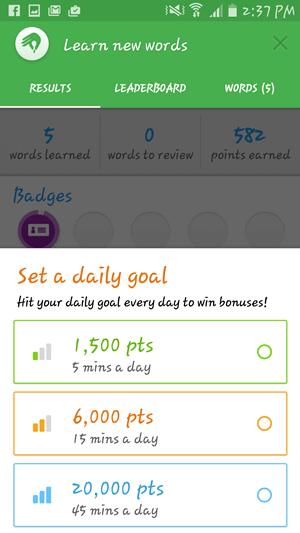 Memrise daily goals