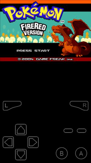 Pokemon Red main screen emulated