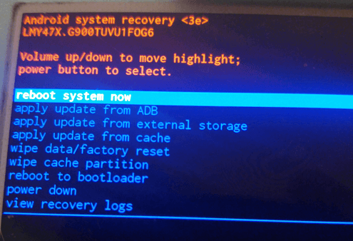 Resetting S5 - android system recovery screen
