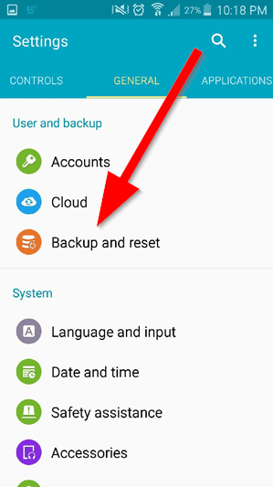 Resetting S5 - backup and reset