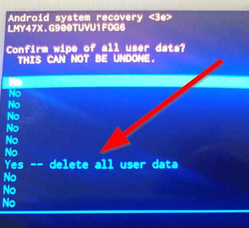 Resetting S5 - delete all user data