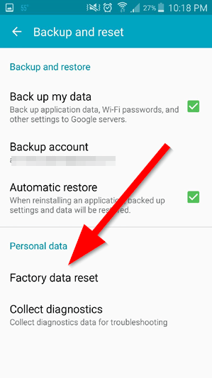 Resetting S5 - factory data reset