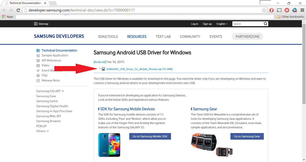 samsung download page