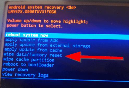 Resetting S5 - wipe data factory reset