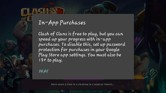 Clash of Clans IAP warning