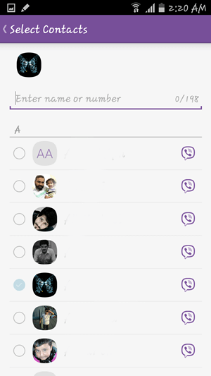 Contacts on Viber