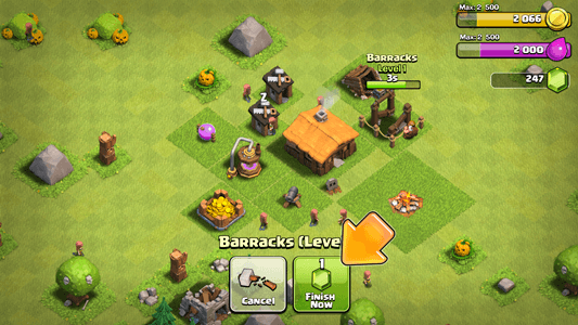 Leveling up buildings in Clash of Clans