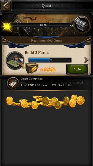Reward collection screen